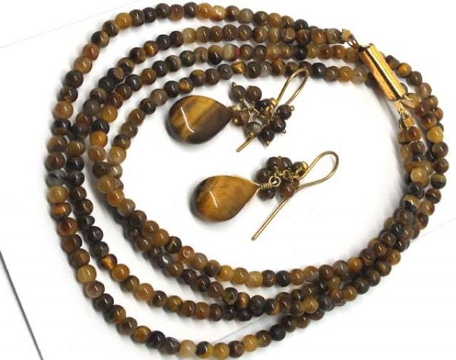 TIGER EYE BEAD NECKLACE EARRING   103 CTS  LJ-72 tiger eye necklace and earing set , gemstone set necklace and earrings, gemstone set