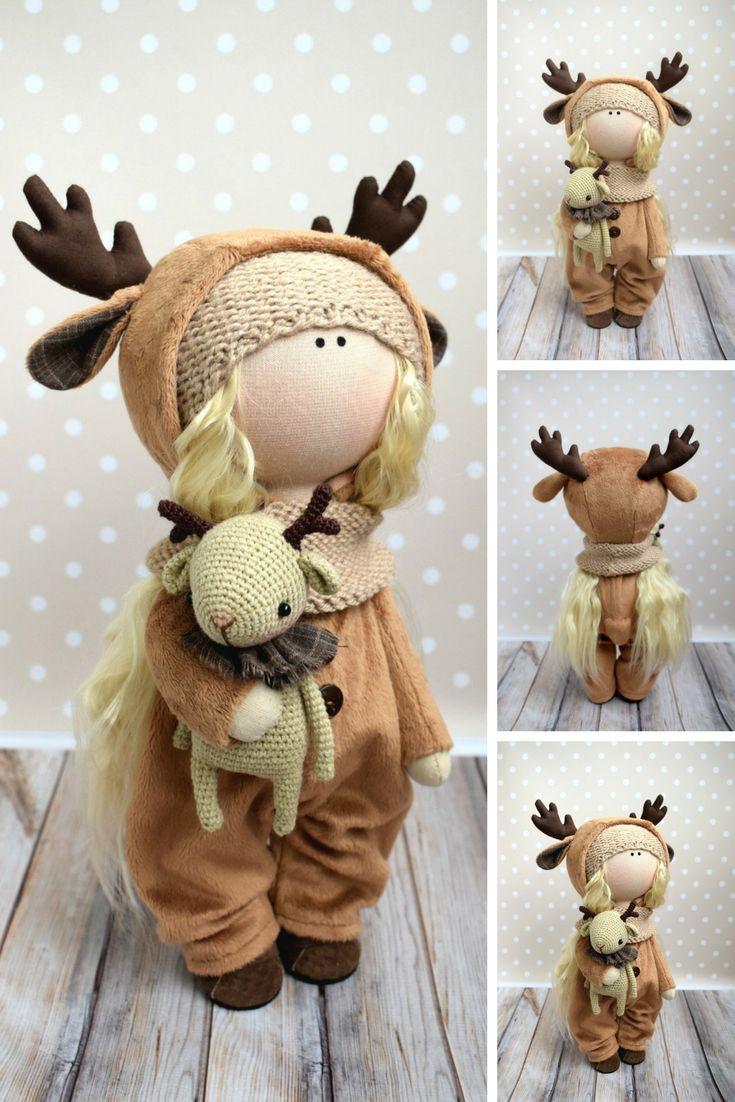 Deer Art Doll Brown Gift Doll Tilda Baby Doll Handmade Soft Doll Fabric Rag Doll Textile Cloth Doll Nursery Decor Special Doll by Evgenia