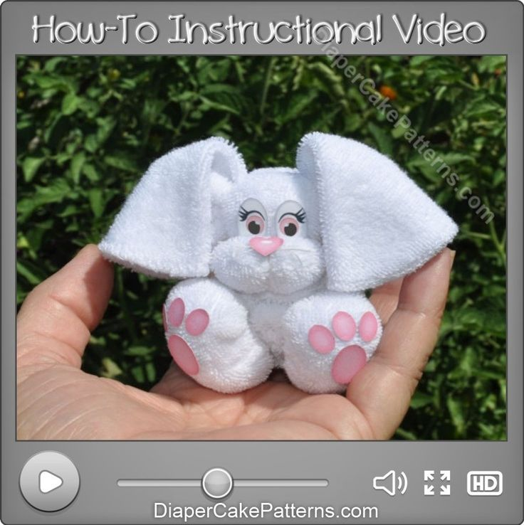 Step by step video tutorial shows you how to make this adorable Washcloth Bunny rabbit diy craft.  http://diapercakepatterns.com/product/how-to-make-a-washcloth-bunny-video-tutorial/