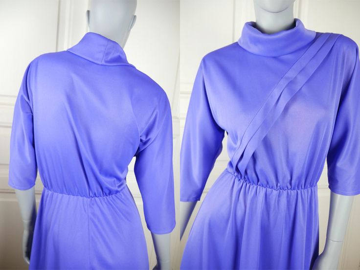 French Vintage 1980s Midi Dress, Sky Blue Polyester Knee-Length w Roll-Back Collar & Bodice Sash European Dress: Size 8/10 US, 12/14 UK by YouLookAmazing on Etsy