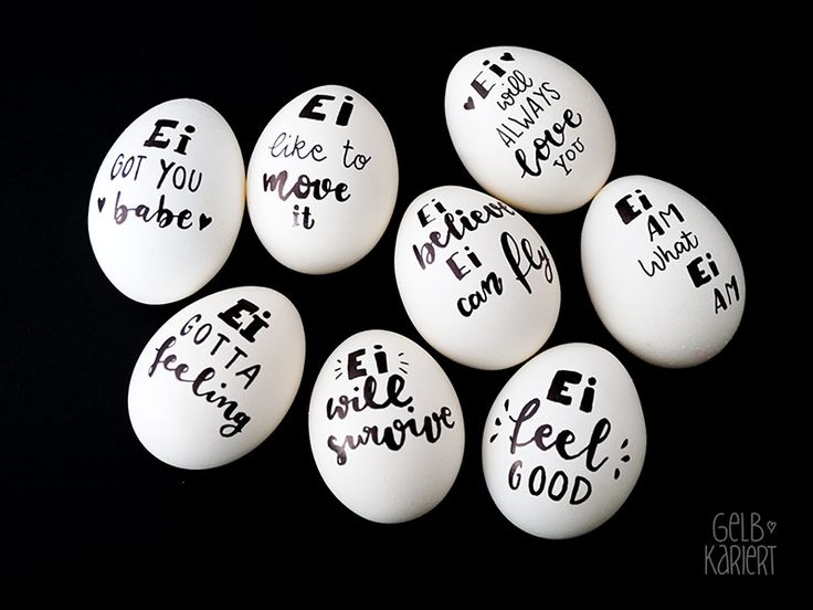 Ostereier bemalen, Osterdeko, Ostereier mit Handlettering, Lettering Ideen, Eier bemalen, DIY Idee Ostern, Gelbkariert Blog