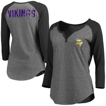 Women's Minnesota Vikings Pro Line Gray Philips Henley 3/4-Sleeve T-Shirt