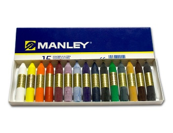 Con las ceras Manley se puede colorear todo un folio de diferentes colores, posteriormente de negro y después con un palillo crear un dibujo de tal forma que contrasten los colores