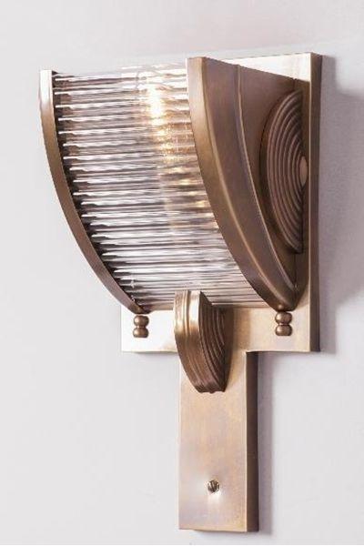 BAINTON Wall Light. Elegant Art deco inspired solid brass wall light.