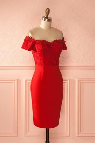 Lukia Red - Red lace cocktail dress