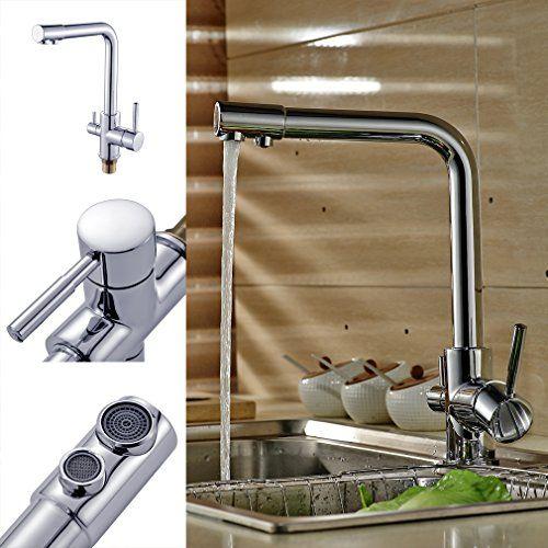Auralum® Modern 3 Way Water Filter Kitchen Sink Mixer Tap with ...