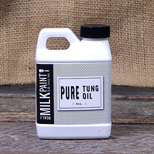 Real Milk Paint Pure Tung Oil - 8 oz:   The Tung Oil offered by Real Milk Paint is actually a pure tung oil meaning it comes without any additives or distillates. The tung oil offered by most other companies can be anything from a thinned down varnish to polymerized tung oil, and most have petroleum distillates added. Our pure Tung Oil will not build a gloss finish or heavy finish, but will penetrate deeply into the wood to enhance character and water resistance while creating a great ...
