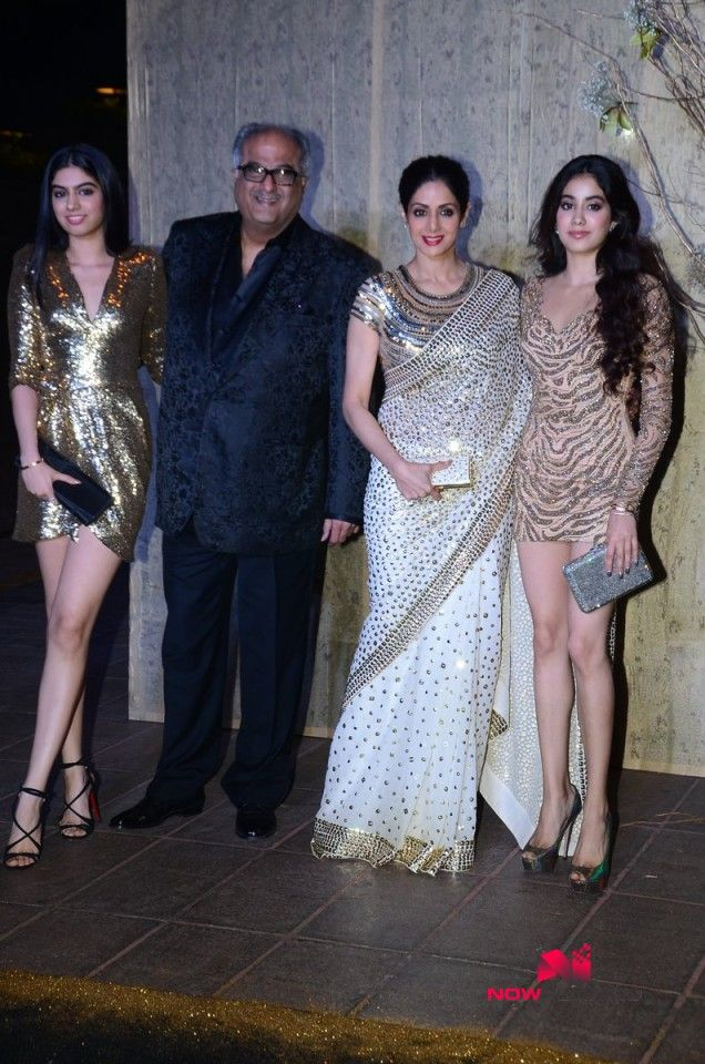 Jahnavi Kapoor, Boney Kapoor, Sridevi and Khushi Kapoor grace Manish Malhotra's 50th birthday bash hosted by Ka