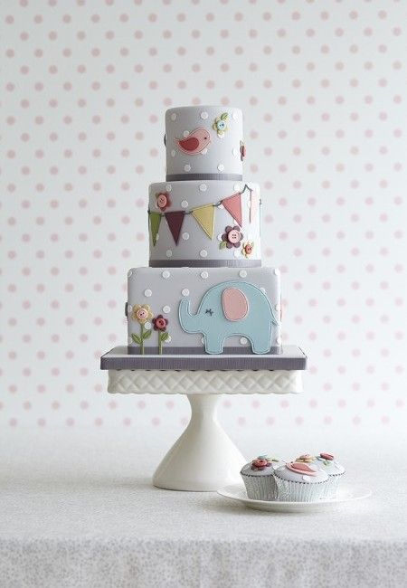 Muted Elephant Cake by Zoe Clark Cakes.