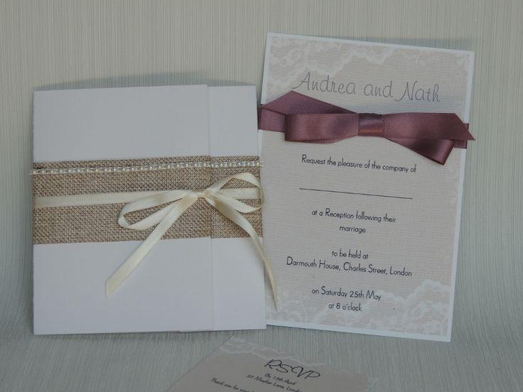handmade hessian wedding invitations uk - Google Search
