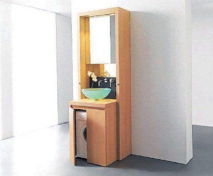 Wastafel op wasmachine (of een meubel eromheen maken en net ernaast de afvoer laten lopen)