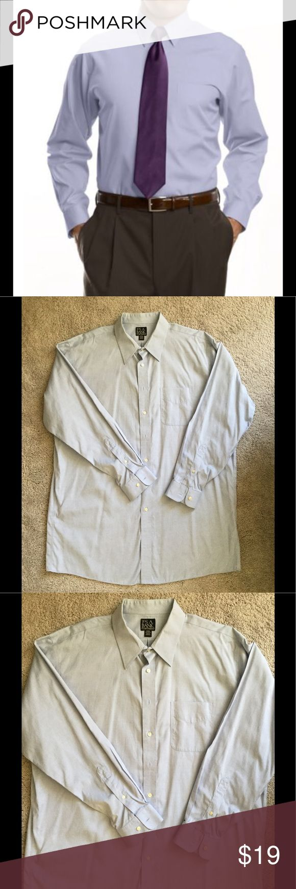 Jos.A.Bank Traveler Collection Dress Shirt 18-36 Jos.A.Bank Traveler Collection Dress Shirt 18-36.  Excellent condition!!!                           Look neat and professional at the end of the day, without the extra effort. Our Traveler Collection dress shirts feature premium wrinkle-free performance and resists shrinking and fading. Split back yoke with center back box pleats. Non-breakable buttons. Traditional placket with a point collar and barrel cuff. Exact sleeve length. 100% cotton…