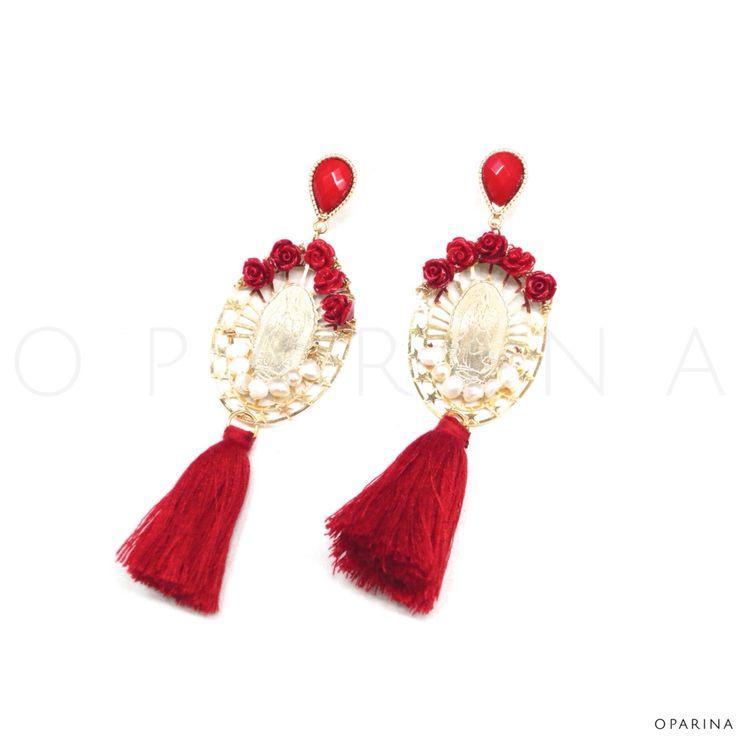 Aretes Boho de Rosas , Madre Perla y Borlas Rojas con la Virgen de Guadalupe en Oparina. #oparina #handmade #handcrafted #boho #Gypsy #statement #jewelry