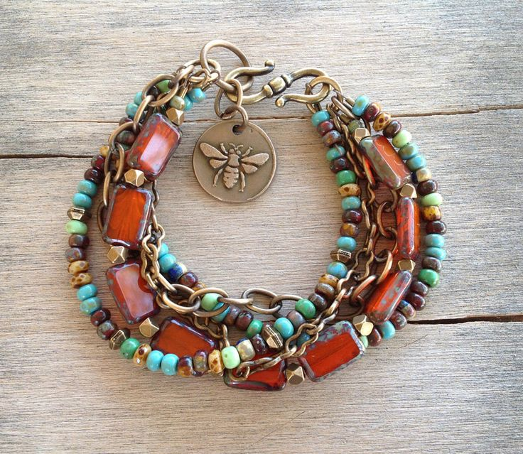orange rust czech glass beads seed beads brass chains boho bracelet armb nder schmuck. Black Bedroom Furniture Sets. Home Design Ideas