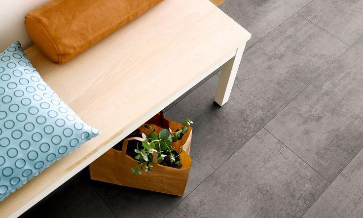 Grey Concrete style vinyl flooring by Pergo - http://www.pergo.co.uk/vinyl/tile-design/V0115-30014_grey-concrete