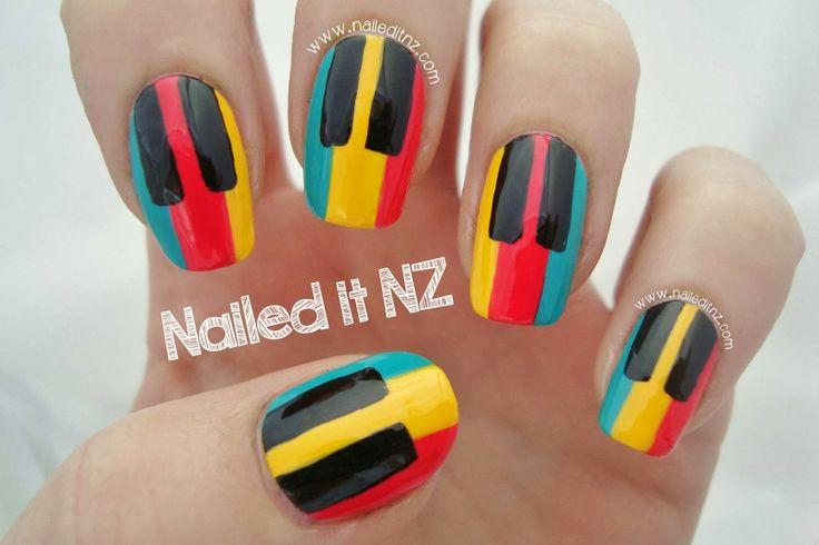 Piano Nail Art, cool idea...don't like the colors