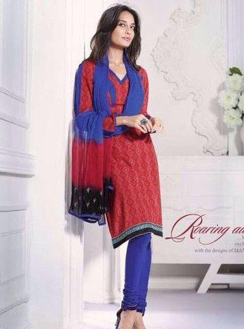 Mayur 3628 - Red & Blue Color Cotton Designer Suit