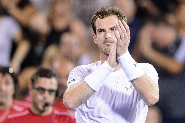 Andy Murray of Great Britain celebrates his victory over Kei Nishikori of Japan during day six of the Rogers Cup at Uniprix Stadium on August 15, 2015 in Montreal, Quebec, Canada.  Andy Murray defeated Kei Nishikori 6-3, 6-0.