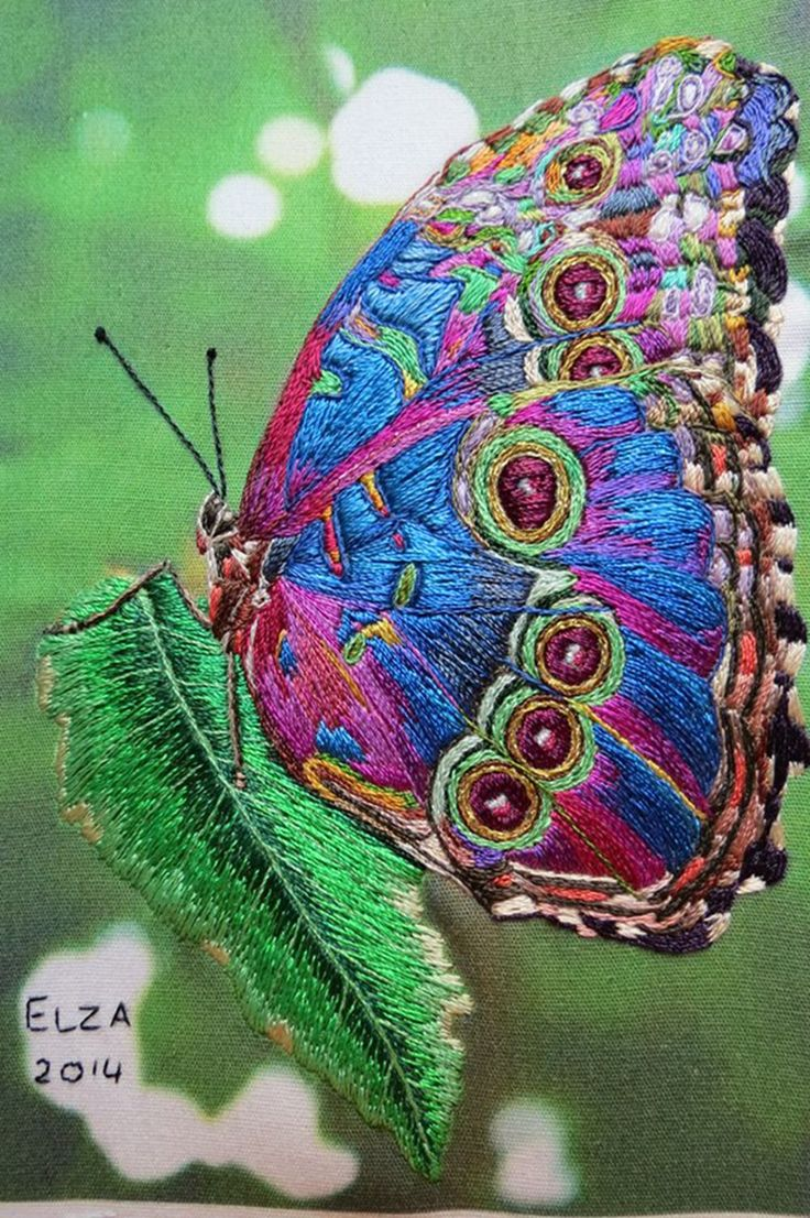 Beautiful Butterfly Done In Surface Embroidery 1,000�1,503 Pixels