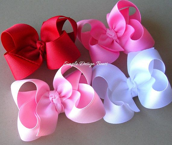 Valentine Hair Bows - Set of 4 - Twisted Boutique Hair Bows - Solids