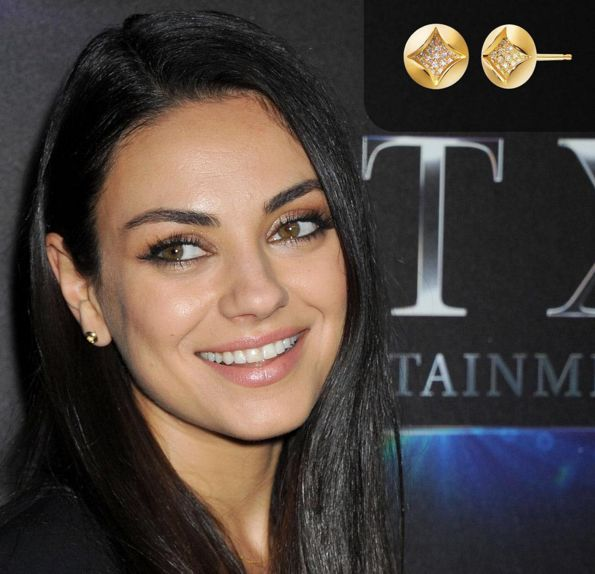 Mila Kunis wearing our Amanda earring to the CinemaCon Festival to promote Bad Moms. Styled by Petra Flannery.