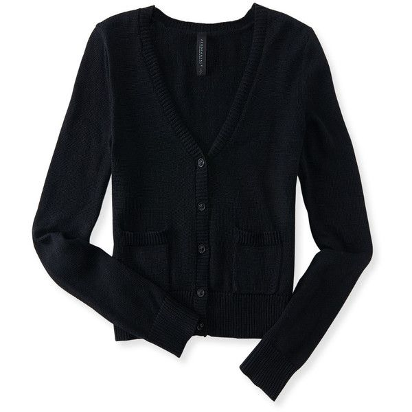 Aeropostale Solid Pocket Buttoned Cardigan ($9.99) ❤ liked on Polyvore featuring tops, cardigans, black, layered tops, slimming tops, button cardigan, slim fit cardigan and aéropostale