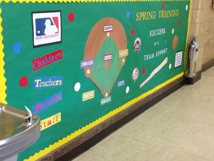 Spring Training baseball teamwork bulletin board.