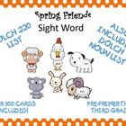 Spring Friends Dolch Sight Word flashcards...includes PrePrimer through Third Grade!