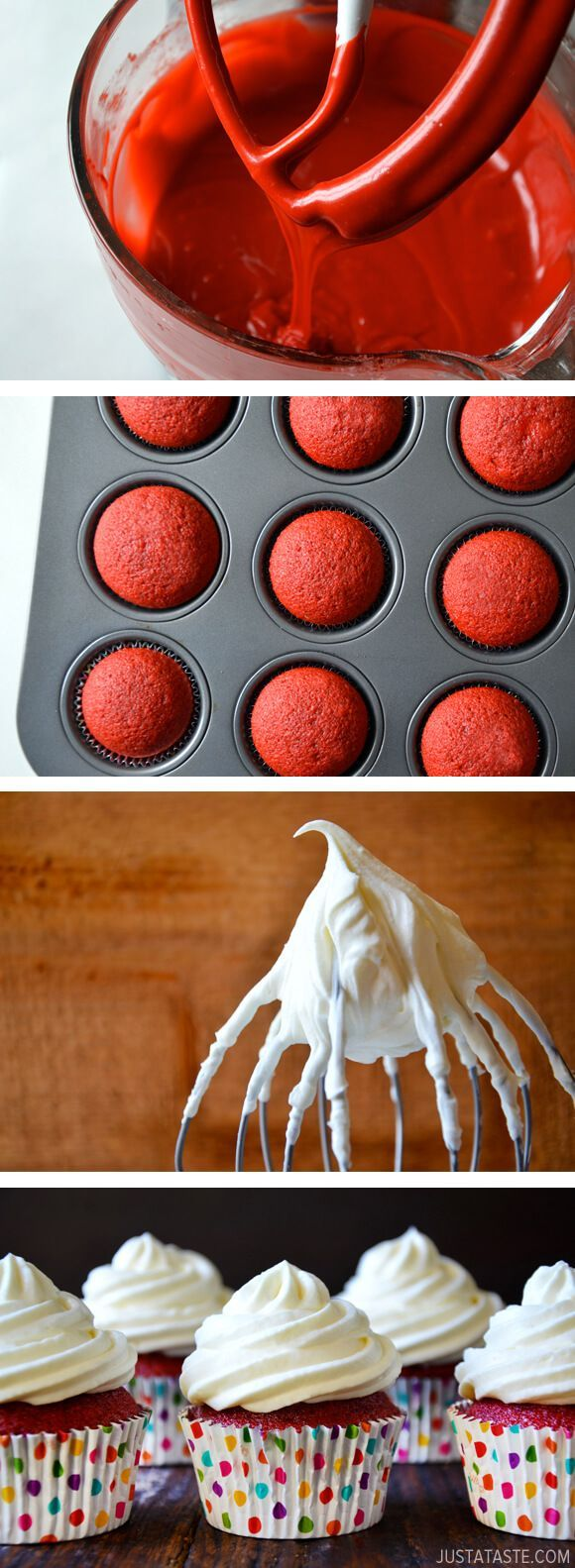Red Velvet Cupcakes with Piped Cream Cheese Frosting from http://justataste.com #recipe