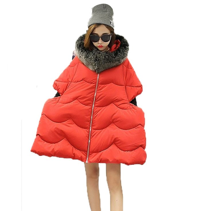 63.11$  Watch here - http://alie1z.worldwells.pw/go.php?t=32734496763 - Top Fashion Design Women's Coat For Winter Cotton Padded Short Sleeve Bread Loose Parkas Jacket Size L/XL Fuzzy Fur Collar A0288 63.11$