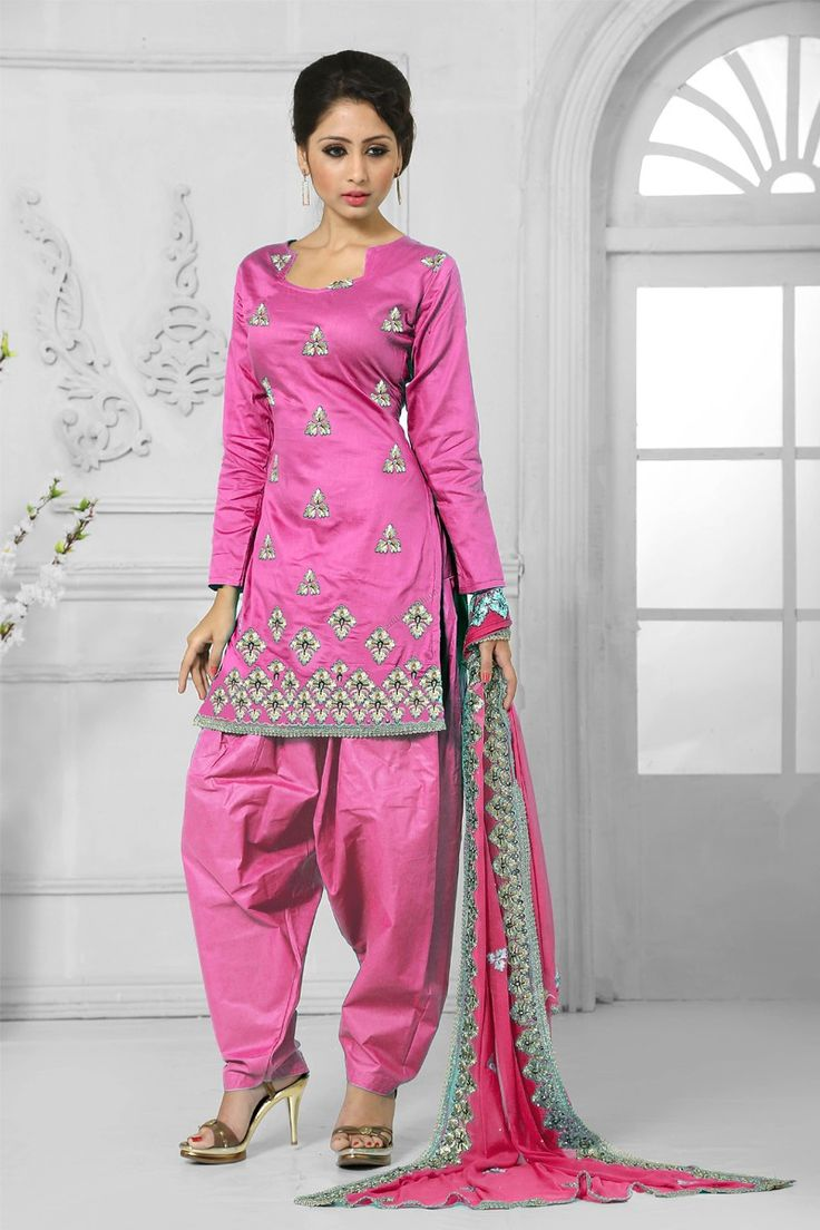 Pink Cotton Salwar Suit with Chiffon Dupatta Price:-£35.00 Pink Cotton, semi stictch patiala suit.   Sweetheart neck, Above knee length, quarter sleeves kameez.   Pink cotton salwar.   Pink chiffon dupatta.  It is perfect for casual wear, festival wear and party wear wear. http://www.andaazfashion.co.uk/pink-cotton-salwar-suit-with-chiffon-dupatta-dmv13556.html