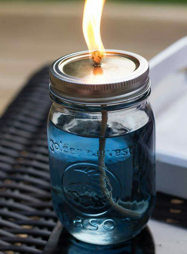 Making your own misquote repellent! Much prettier than the old can of citronella!