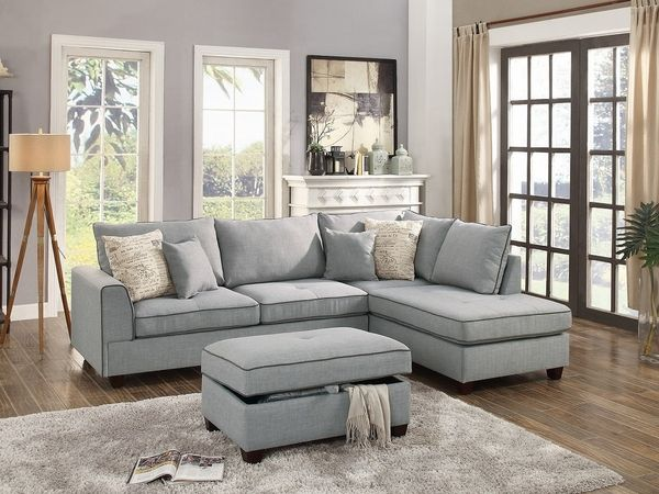 Teofila Light Grey Fabric Reversible Sectional With Ottoman By Poundex Gray Sectional Living Room Living Room Sectional Grey Sectional Sofa