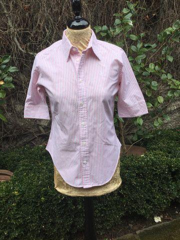 Ralph Lauren Sport Super Slim Fit Shirt Womens Ladies Blouse Top US 6 UK 8 Ladies