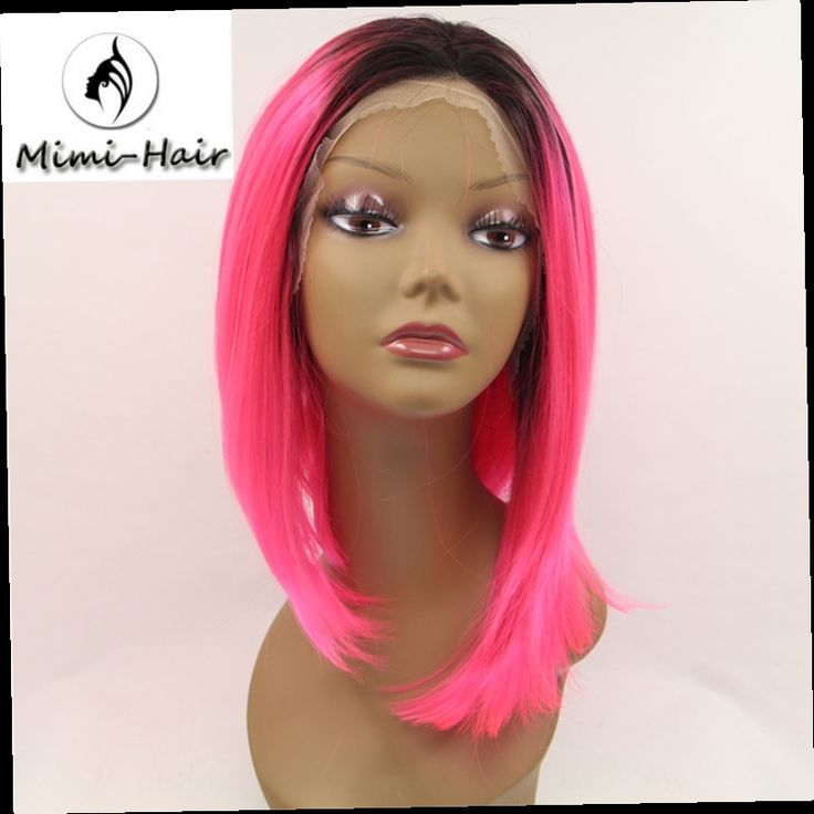 42.75$  Buy here - http://ali4br.worldwells.pw/go.php?t=32630657321 - Mimi Hair black root ombre pink short synthetic lace front wigs bob synthetic sexy female short haircut wigs 42.75$