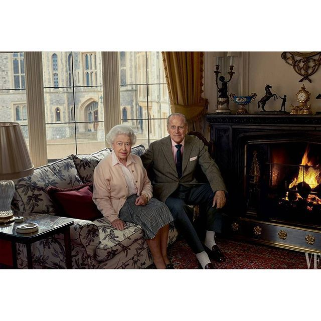 Queen Elizabeth II and Prince Philip, Duke of Edinburgh in the Oak Sitting room, Windsor. . By Annie Leibovitz . April 2016