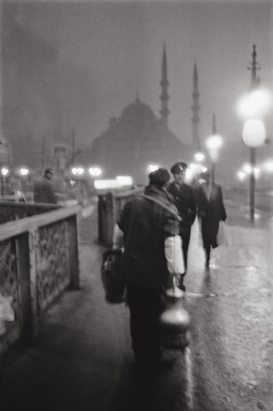 A foggy day on the Galata Bridge in 1957 by Ara Guler