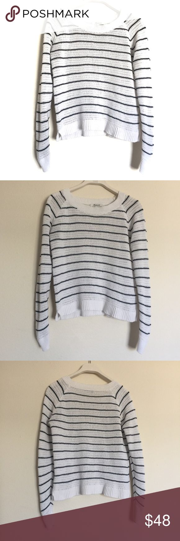 """MADEWELL Dockline Pullover Sweater Mariner Stripe Excellent condition. Open knit with crew neck, ribbed cuffs and hem. Pit to pit 18"""", length 21"""". 100% cotton. Madewell Sweaters"""