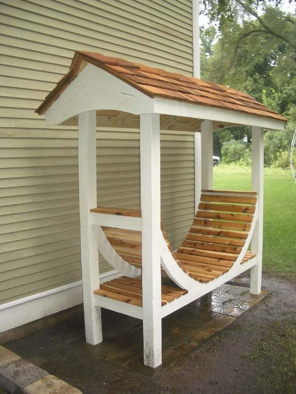 Outdoor Firewood Storage With Space For Kindling Under The Curve. Nice  Addition To The Outdoor