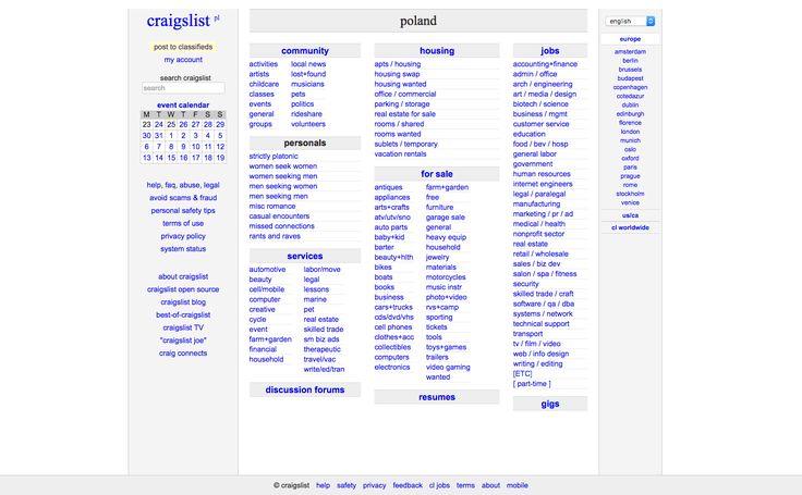 Craiglist Poland Warsaw - Frontpage