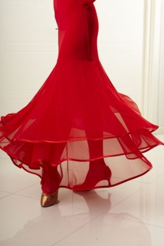 Flow Ballroom Skirt Evening Dance Flamenco Women RED