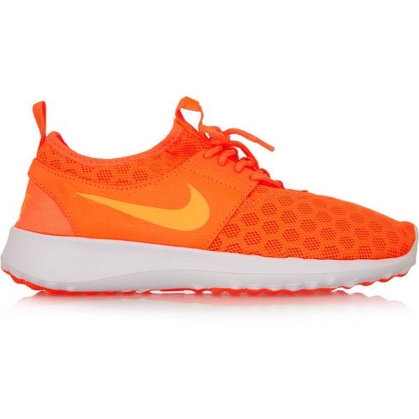 Nike Juvenate mesh sneakers ($64) ❤ liked on Polyvore featuring shoes, sneakers, orange, nike trainers, nike, lace up sneakers, orange shoes and lace up shoes
