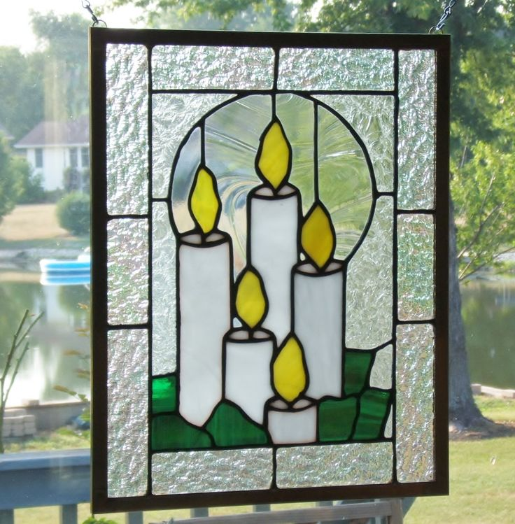 Stained glass window panel Christmas candles