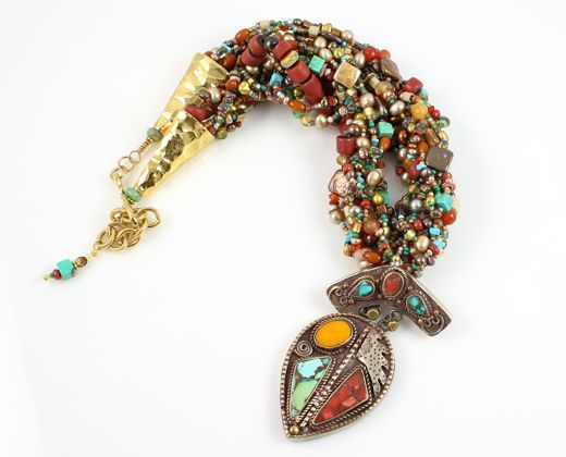 Woven Tibetan Drop Necklace by Carol Salomon