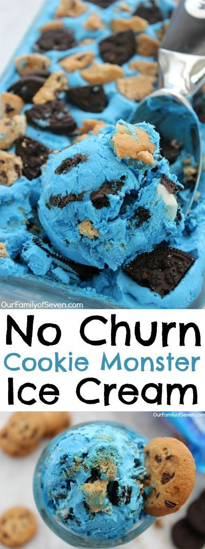 No Churn Cookie Monster Ice Cream- imple kid friendly ice cream loaded with Oreo and chocolate chip cookies