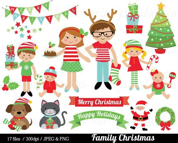 2020 Dog And Cat Christmas Commercial Christmas Family Clipart Christmas Clip Art tree festive | Etsy in