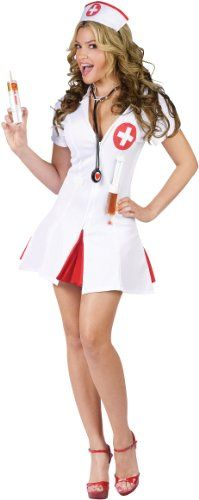 Sexy Nurse Halloween Costumes. Here is a cute and sexy black with red lace trim nurses outfit for Halloween.