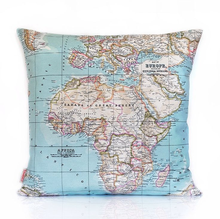 "This best selling world map pillow cover is currently featured in a Dutch magazine ""Ariadne at home"" october issue"
