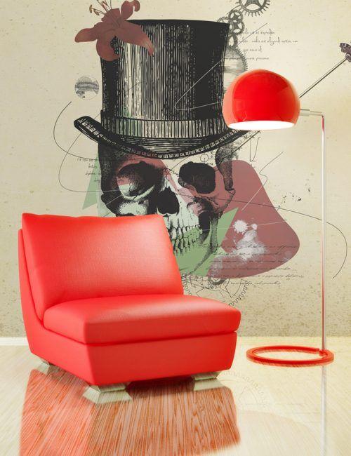Carta da Parati Teschio con il Cappello Carta da Parati Fotomurale con Arte Astratta Moderna