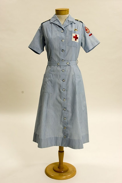 Red Cross uniform for social workers who worked in military hospitals during the Vietnam war.
